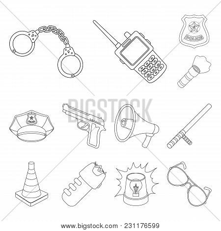 Police, Department Outline Icons In Set Collection For Design.detective And Accessories Vector Symbo