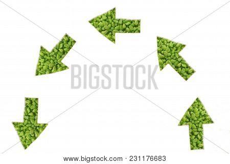 Green Arrows Note Below - Half Circle