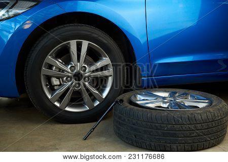 Replacing Damaged Car Wheel Service. Fixing Damage Car Wheels