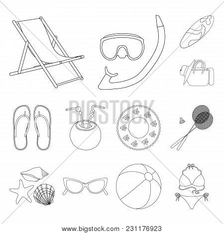Summer Rest Outline Icons In Set Collection For Design. Beach Accessory Vector Symbol Stock  Illustr