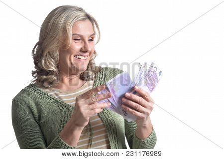 Portrait Of Smiling Young Businesswoman Holding  Banknotes