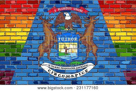 Brick Wall Michigan And Gay Flags - Illustration, Rainbow Flag On Brick Textured Background,  Abstra