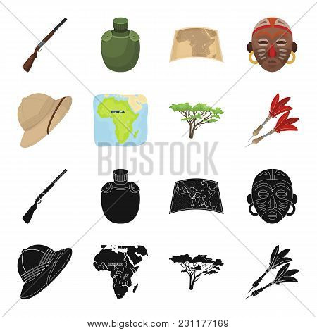 Cork Hat, Darts, Savannah Tree, Territory Map. African Safari Set Collection Icons In Black, Cartoon