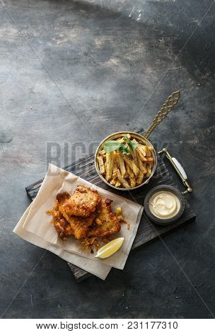 British Fish And Chips With Beer, Top View With Place For Wording