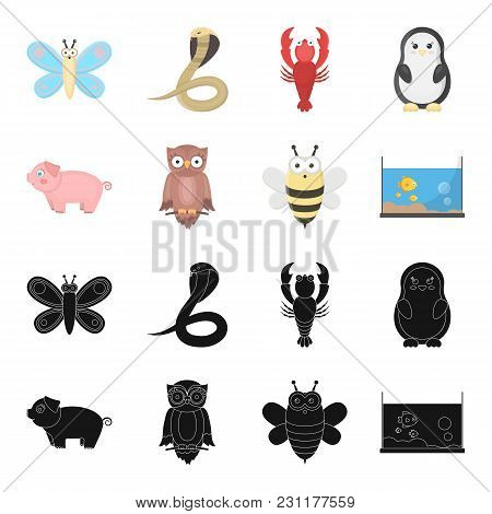 An Unrealistic Black, Cartoon Animal Icons In Set Collection For Design. Toy Animals Vector Symbol S