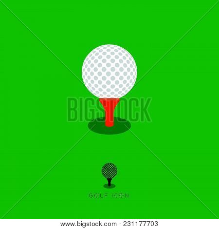Flat Golf Icon, Golf Characters. White Golf Ball And Red Tee On A Green Background.
