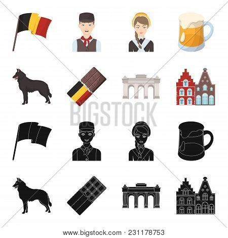 Chocolate, Cathedral And Other Symbols Of The Country.belgium Set Collection Icons In Black, Cartoon