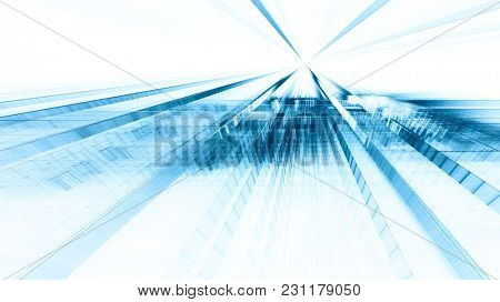 Abstract blue toned background element on white. Regular dots and grids pattern. Perspective composition. Detailed fractal graphics. Information technology concept.
