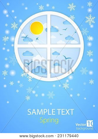 Creative Round Window With Good Weather Background. Vector Illustration