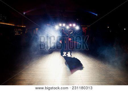 Beautiful Newlywed Couple First Dance At Wedding Reception