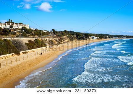a view of the Platja Llarga beach in Tarragona, Spain