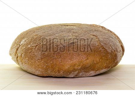 Freshly Baked Bread On Linen Towel Isolated On White Background