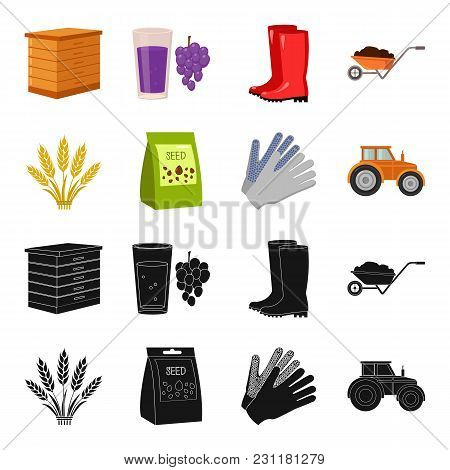 Spikelets Of Wheat, A Packet Of Seeds, A Tractor, Gloves.farm Set Collection Icons In Black, Cartoon