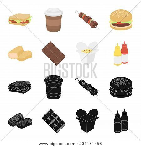 Chocolate, Noodles, Nuggets, Sauce.fast Food Set Collection Icons In Black, Cartoon Style Vector Sym