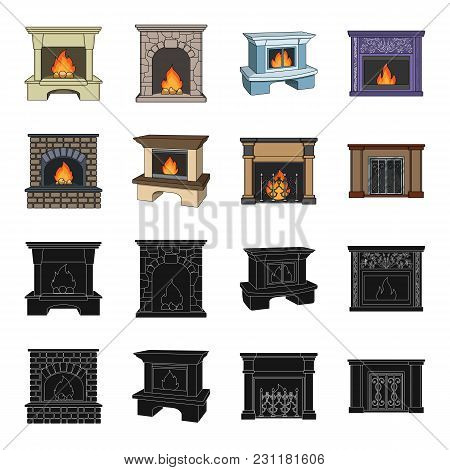 Fire, Warmth And Comfort.fireplace Set Collection Icons In Black, Cartoon Style Vector Symbol Stock