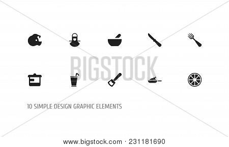 Set Of 10 Editable Cooking Icons. Includes Symbols Such As Rocker Blade, Silverware, Orange And More