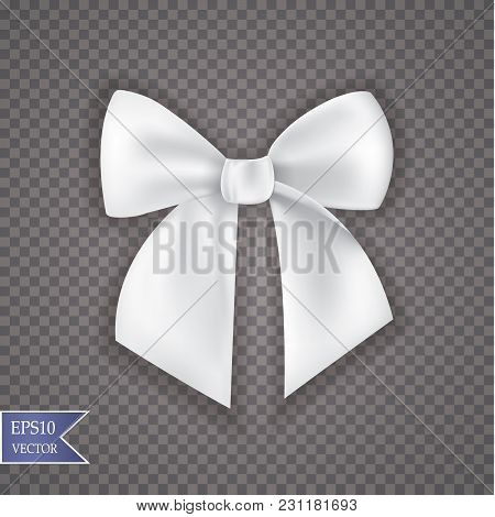 Realistic Bow And Ribbon Isolated On Transparent Background. Template For Greeting Card, Poster Or B