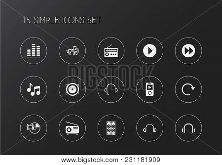 Set Of 15 Editable Mp3 Icons. Includes Symbols Such As Headsets, Compact Disk, Rewind And More. Can