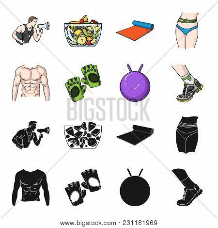 Men's Torso, Gymnastic Gloves, Jumping Ball, Sneakers. Fitnes Set Collection Icons In Black,cartoon
