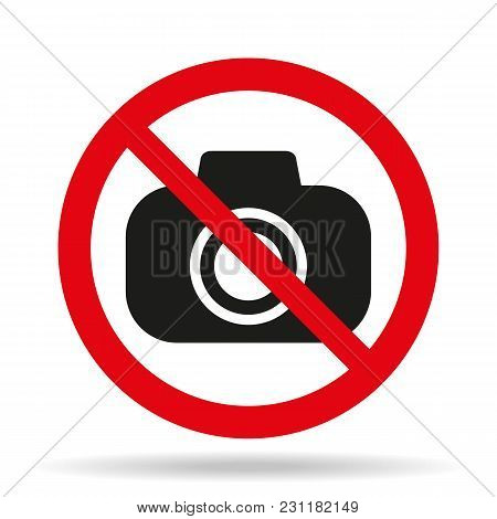 No Camera Icon On White Background. Vector Illustration