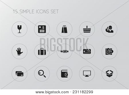 Set Of 15 Editable Trade Icons. Includes Symbols Such As Shopping Bag, Giftbox, Box Clear And More.