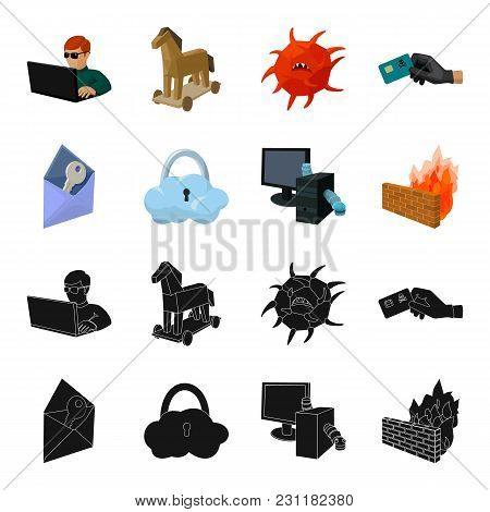 System, Internet, Connection, Code .hackers And Hacking Set Collection Icons In Black, Cartoon Style