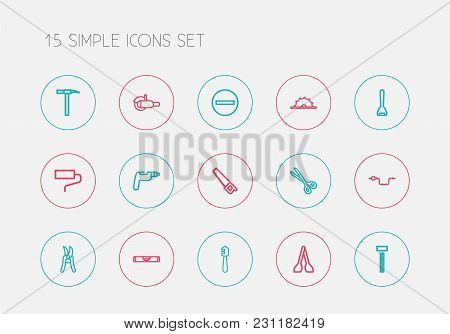 Set Of 15 Editable Apparatus Icons Line Style. Includes Symbols Such As Screw Head, Saw, Drill And M