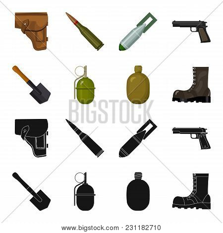 Sapper Blade, Hand Grenade, Army Flask, Soldier S Boot. Military And Army Set Collection Icons In Bl