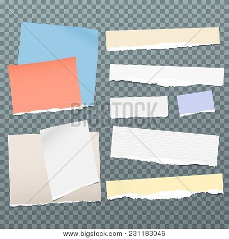 Colorful And White Torn Note, Notebook Paper Pieces For Text Stuck On Blue Squared Background. Vecto