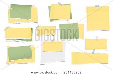 Yellow And Green Torn Note, Notebook Paper Pieces For Text Stuck With Sticky Tape On White Backgroun