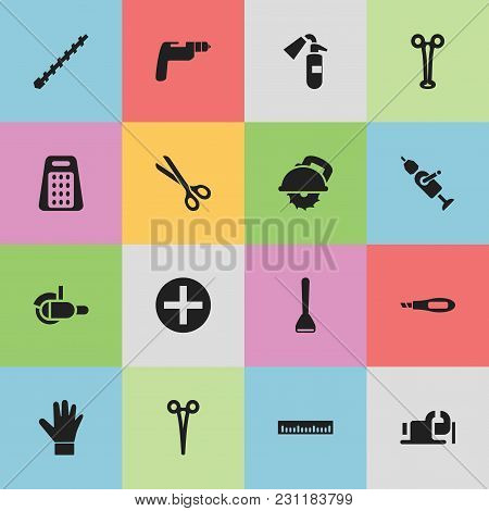 Set Of 16 Editable Tools Icons. Includes Symbols Such As Grinder, Ruler, Glove And More. Can Be Used