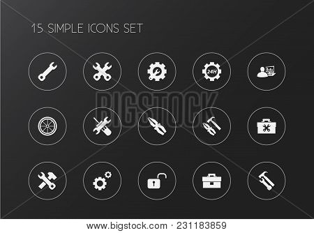 Set Of 15 Editable Repair Icons. Includes Symbols Such As Toolbox, Gears, 24 Hour Service And More.