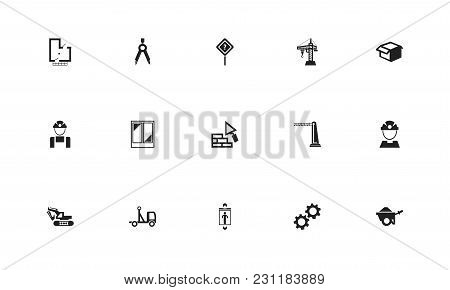 Set Of 15 Editable Building Icons. Includes Symbols Such As Hoisting Machine, Pickup, Package And Mo
