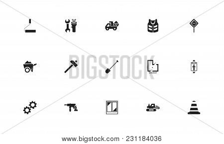 Set Of 15 Editable Construction Icons. Includes Symbols Such As Window, Drill, Shovel And More. Can
