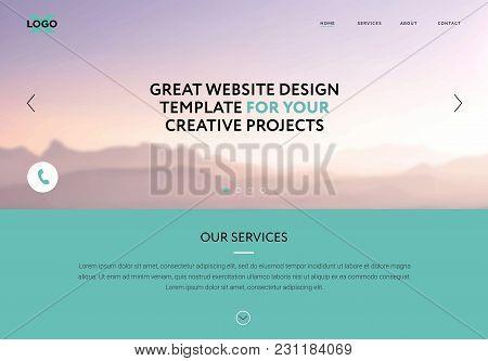 Web Design. Website Banner Header Design With Blurry Mountain Sunset Banner Picture. Vector Web Temp