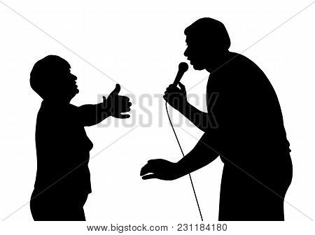 Male Singer And His Longtime Fan. Isolated White Background. Eps File Available.
