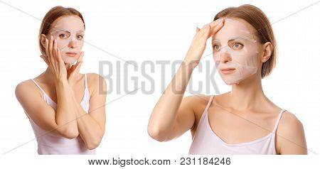 Beautiful Young Woman On Face Mask Beauty Set On White Background Isolation