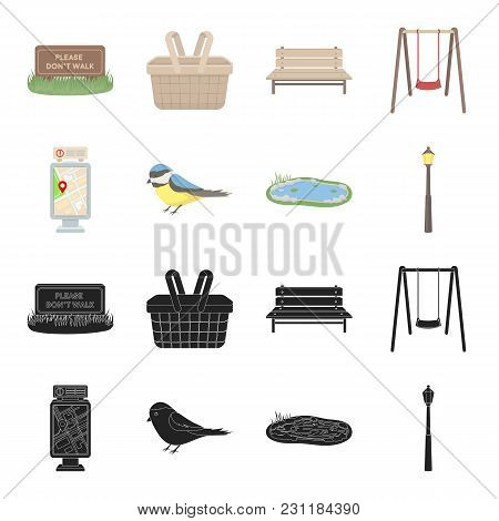 Territory Plan, Bird, Lake, Lighting Pole. Park Set Collection Icons In Black, Cartoon Style Vector