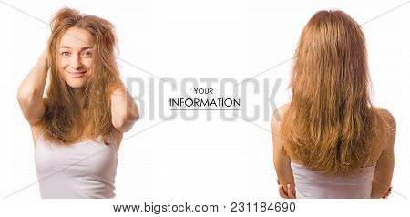 Beautiful Young Woman Hair Dried Beauty Set Pattern On White Background Isolation