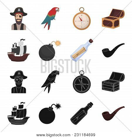 Pirate, Bandit, Ship, Sail .pirates Set Collection Icons In Black, Cartoon Style Vector Symbol Stock