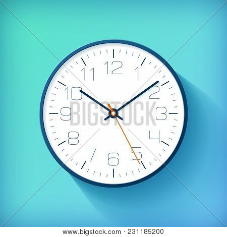 Realistic Simple Clock In Flat Style With Numbers, Watch On Blue And Green Background. Business Illu