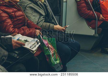 People In The Subway In St. Petersburg In Russia