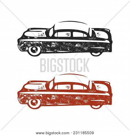 Vintage Hand Drawn Car. Retro Car Symbol Design. Classic Car Emblem Isolated On White Background. St
