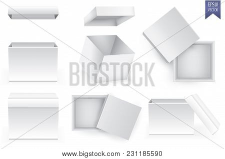 Open And Closed White Paper Boxes On White Background, Vector Eps10 Illustration