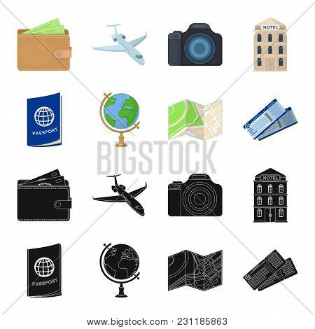 Vacation, Travel, Passport, Globe .rest And Travel Set Collection Icons In Black, Cartoon Style Vect