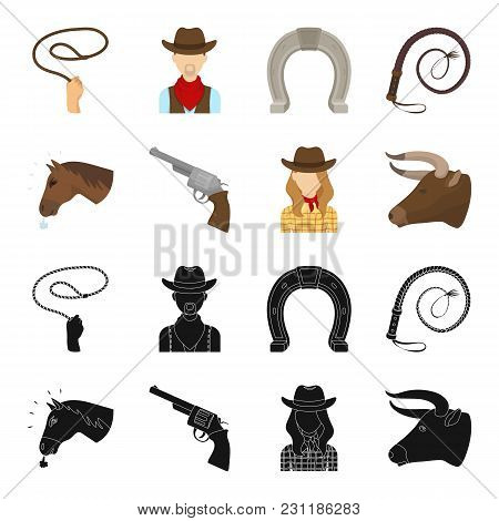 Head Of A Horse, A Bull S Head, A Revolver, A Cowboy Girl. Rodeo Set Collection Icons In Black, Cart