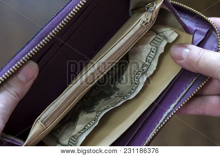 Hands Holding A Purse In Which Lie One Hundred Dollars