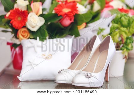 Gorgeous Bride Shoes Decorated With Crystals. Beautiful White Shoes Encrusted With Crystals, Isolate