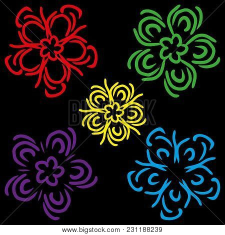 A Set Of Schematic Colors. Multicolored Flowers For Decoration Of Postcards And Gift Paper.