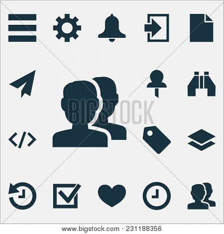 User Icons Set With Alarm, Wait, Badge And Other Tag Elements. Isolated Vector Illustration User Ico
